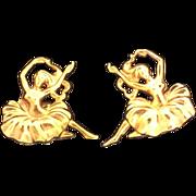 Dancing Girls ballet Ballerina Vintage Clip Earrings