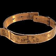 Gold-filled Vintage Adjustable Buckle Bracelet w/ Gorgeous Engraving