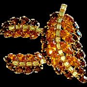 Vintage B. David 3-Color Rhinestone Pin Brooch & Earrings Set, Amber, Brown, and Lemon