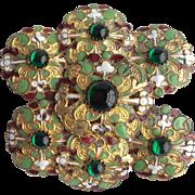 Edwardian Art Nouveau Antique Enamel and Green Glass Stone Belt Buckle GORGEOUS - Red Tag Sale Item