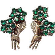 Vintage Trifari Sterling Emerald Green Rhinestone Clip Earrings