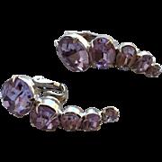 Vintage Pale Purple Lavender Rhinestone Signed VOGUE Clip Earrings