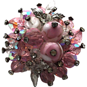 Vintage Vendome Pink Art Glass, White Accents, and Crystal Tips Brooch Pin