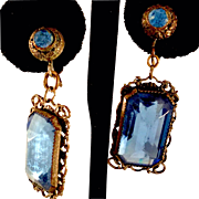 Vintage Faceted Blue Glass and Pierced Silvertone Earrings