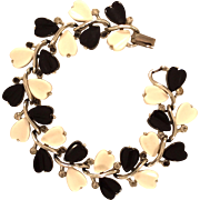 Vintage Lisner Black and White Thermoset Hearts and Rhinestone Bracelet