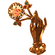 Coro Vintage Goldtone Hand Holding Flowers Pin Brooch