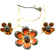 Vintage Nolan Miller Peach Orange Flower Necklace and Clip Earrings