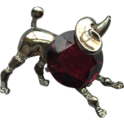 Vintage Trifari Sterling Ruby Red Belly Poodle Pin Brooch  A. Philippe
