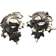 Whiting &Davis Vintage Acorn and Oak Leaf Clip Silvertone Earrings