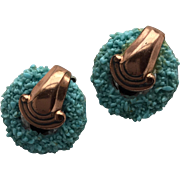 Matisse Renoir Vintage Copper and Sugared Blue Enamel Clip Earrings