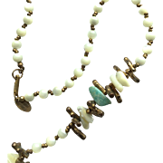 Vintage Miriam Haskell Mother of Pearl Bead and Green Stone Long Necklace - Red Tag Sale Item