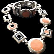 Kunio Matsumoto Trifari Vintage Geometric Modernist Necklace and Clamper Bracelet