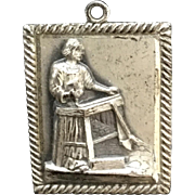 Vintage Sterling Silver St. Joseph Joe Pray For Us Medal Charm Pendant, Carpenter Saint