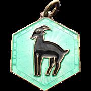 Vintage David Andersen Zodiac Sagittarius Goat Sterling Guilloche Charm Pendant