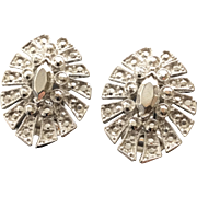 KJL Vintage Silvertone Marcasite-Look Carved Clip Earrings