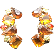 Vintage DeLizza and Elster Amber-Colored Clip Earrings