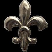 Vintage Sterling Silver Fleur de Lis Watch Pin Brooch