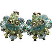 Vintage Vendome Blue and Lime Earrings with Rhinestone Tips
