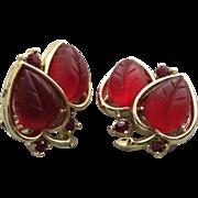 Vintage Lisner Carved Red Lucite Clip Earrings