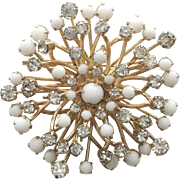 Vintage Hattie Carnegie White Cabochon and Clear Rhinestone Pin Brooch