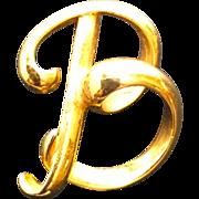 "Vintage Anne Klein Goldtone Initial or Letter ""B"" Script Pin Brooch"