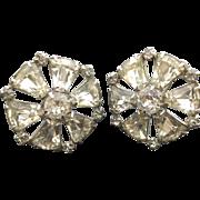 Vintage Kramer of N.Y. Clear Rhinestone Earrings