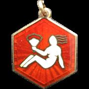 Vintage Sterling Silver Vermeil Guilloche Enamel Virgo Zodiac David Andersen Charm Pendant
