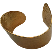 Vintage Trifari Asymmetrical Hammered Goldtone Bangle Bracelet