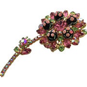 Juliana Vintage D and E Pink, Green, and Sugar Speckled Bead Brooch Pin