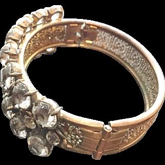 Vintage Pierced Brass Bangle Bracelet with Amazing Open-Back Crystals