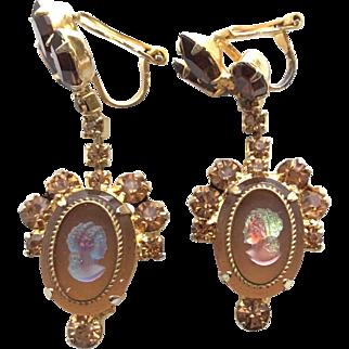 Vintage Juliana D&E Dangling Cameo Earrings
