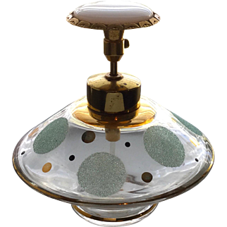Vintage Mid Century MCM Sugared Polka Dot Perfume Bottle Atomizer
