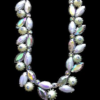Kramer Vintage Blue Gorgeous Rhinestone Necklace