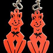 Vintage Halloween Orange Cat Plastic Earrings