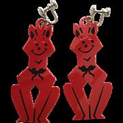 Vintage Halloween Red Cat Earrings