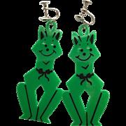Vintage Halloween Green Cat Earrings