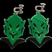 Vintage Halloween Green Devil Earrings