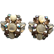Vintage Schreiner New York Opalescent and Rhinestone Dome Earrings
