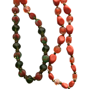 Vintage Long 30 Inch Orange and Green Art Glass Bead Necklace