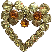 Vintage Austria Heart Shaped Pin Brooch with Yellow and Orange Rhinestones