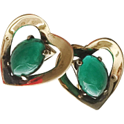 Vintage Heart-Shaped with Green Glass Cabochon Sterling Earrings