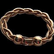 Vintage Triple Strand Twisted Goldtone Snake Bracelet