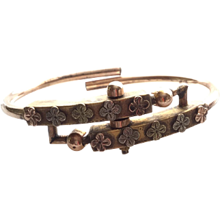 Victorian Antique Gold-Filled and Heavy Brass Bypass Bracelet with Shamrocks