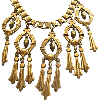 Antique Bookchain Necklace with Dangling Egyptian Style Fringe