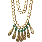 Vintage Gold-Filled Link Necklace with Textured Dangles and Jade Beads