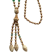 Vintage 1920s Green and White Glass Bead Elephant Long Y Necklace