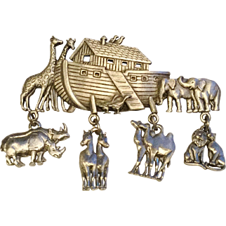Vintage JJ Noah's Ark Pin Brooch with Dangling Animals
