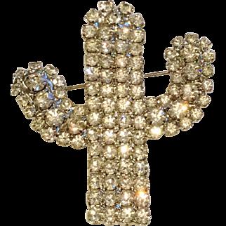 Vintage Bright Rhinestone Cactus Pin Brooch