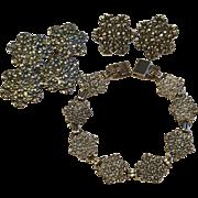 Vintage Sterling Silver Set of Flower Earrings, Bracelet, and Pin Brooch - Red Tag Sale Item