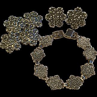 Vintage Sterling Silver Set of Flower Earrings, Bracelet, and Pin Brooch